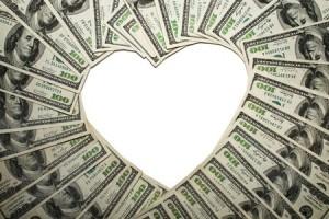 money heart shape