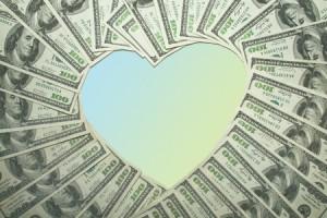 money heart shape gradient